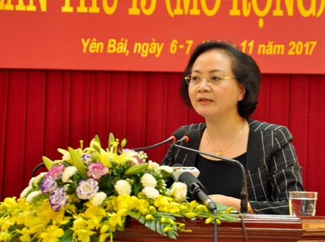 Đồng chí Phạm Thị Thanh Trà - Ủy viên Ban Chấp hành Trung ương Đảng, Bí thư Tỉnh ủy, Chủ tịch HĐND tỉnh phát biểu bế mạc Hội nghị.