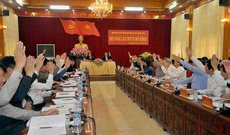 Các đại biểu biểu quyết thông qua Nghị quyết Hội nghị.