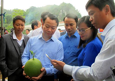 Đồng chí Đỗ  Đức Duy - Phó Bí thư Tỉnh ủy, Chủ tịch UBND tỉnh Yên Bái thăm gian hàng trưng bày sản phẩm nông nghiệp tại xã Hát Lót, huyện Mai Sơn.