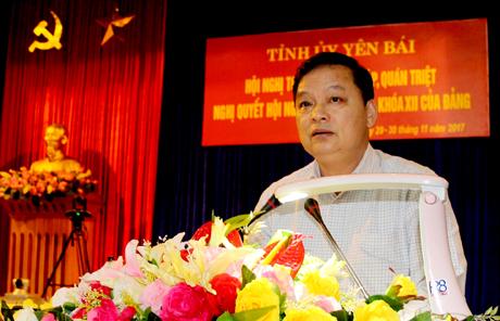 Đồng chí Dương Văn Thống - Phó Bí thư Thường trực Tỉnh uỷ phát biểu tại Hội nghị.