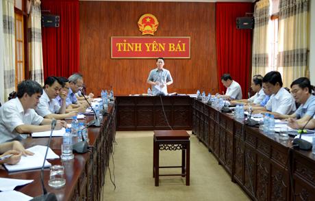 Đồng chí Đỗ Đức Duy-  Phó Bí thư Tỉnh ủy, Chủ tịch UBND tỉnh phát biểu tại buổi làm việc