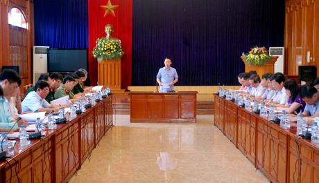Phó Bí thư Tỉnh ủy, Chủ tịch UBND tỉnh, Trưởng ban Tổ chức diễn tập khu vực phòng thủ tỉnh Đỗ Đức Duy phát biểu giao nhiệm vụ cụ thể cho các tiểu ban giúp việc Ban Tổ chức.