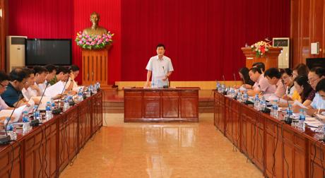 Phó Chủ tịch UBND tỉnh Nguyễn Chiến Thắng phát biểu kết luận buổi làm việc.