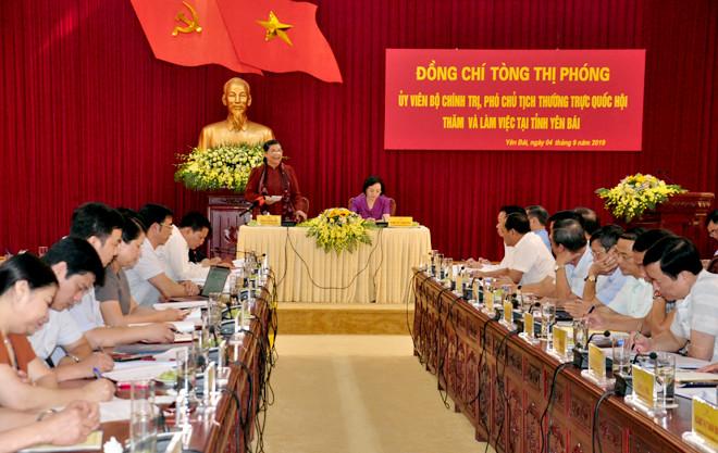 Đồng chí Tòng Thị Phóng - Ủy viên Bộ Chính trị, Phó Chủ tịch Thường trực Quốc hội phát biểu tại buổi làm việc.