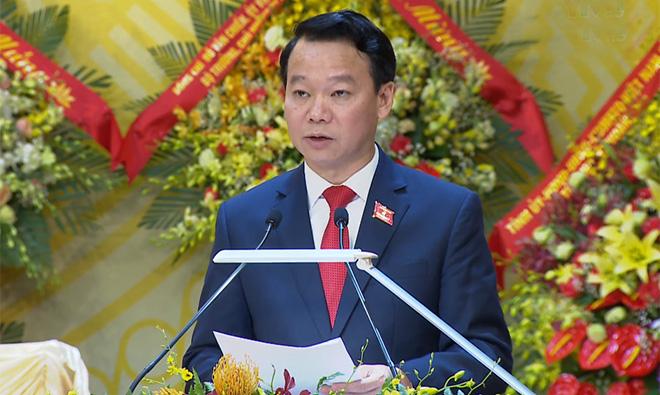 Đồng chí Đỗ Đức Duy - Bí thư Tỉnh ủy Yên Bái phát biểu bế mạc Đại hội.