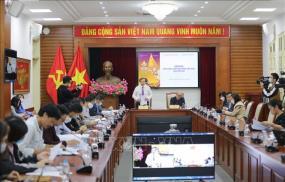 Quang cảnh họp báo tại điểm cầu Bộ Văn hóa, Thể thao và Du lịch.