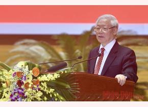 Tổng Bí thư, Chủ tịch nước Nguyễn Phú Trọng phát biểu tại Hội nghị cán bộ toàn quốc tổng kết công tác tổ chức Đại hội đảng bộ các cấp nhiệm kỳ 2020 - 2025