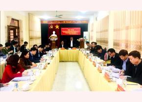 Đồng chí Giàng A Tông – Uỷ viên Ban Thường vụ Tỉnh uỷ, Chủ tịch Uỷ ban MTTQ Việt Nam tỉnh, Trưởng đoàn công tác phát biểu chỉ đạo Hội nghị.