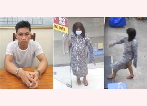 Hình ảnh Nguyễn Văn Dũng tại cơ quan công an và lúc đóng giả phụ nữ đi cướp điện thoại.