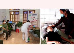 6 đồng chí Công an thị xã Nghĩa Lộ tham gia hiến máu cho em Lò Ngọc Tuấn