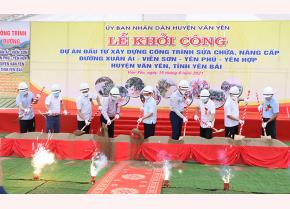 Secretary of the Yen Bai Party Committee Do Duc Duy and leaders of the province and Van Yen district broke the ground to launch the project.