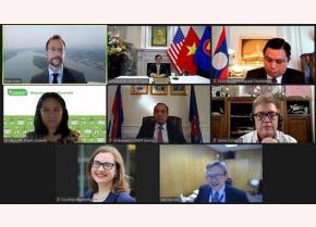 Delegates attend the webinar to release the summary report of the first Mekong-US Partnership Track 1.5 Policy Dialogue.