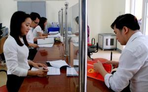 Bộ phận một cửa tại Phòng Đăng ký kinh doanh, Sở Kế hoạch – Đầu tư tỉnh Yên Bái. (Ảnh: Thanh Chi)