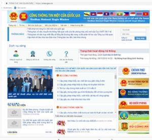 Giao diện Cổng thông tin một cửa quốc gia.