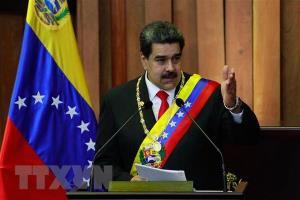 Tổng thống Venezuela Nicolas Maduro phát biểu trong lễ tuyên thệ nhậm chức tại Tòa án Công lý Tối cao ở Caracas ngày 10/1.