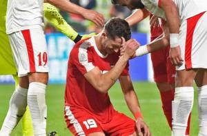 Mahmoud Wadi bật khóc sau khi Palestine chỉ giành 1 điểm trước Jordan.
