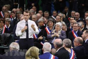 Tổng thống Pháp Emmanuel Macron trong cuộc gặp hơn 600 Thị trưởng vùng Normandie tại thành phố Grand Bourgtheroulde, tỉnh Eure ngày 15/1/2019.
