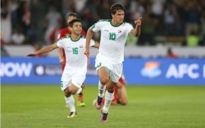 Mohanad Ali ghi bàn trong trận gặp Việt Nam.