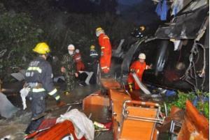 Nhân viên cứu hộ được điều động tới hiện trường để giải cứu nạn nhân vụ xe buýt chở đoàn thể thao gặp nạn ở Bolivia hồi tháng 1/2019.
