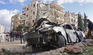 Hiện trường vụ đánh bom kép ở thành phố Idlib, miền Tây Bắc Syria ngày 18/2/2019.