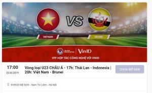 Giao diện 1 trang bán vé chính thức bảng K vòng loại U23 châu Á 2020 trước giờ mở bán.