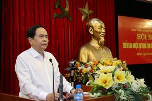 Chủ tịch Ủy ban Trung ương MTTQ Việt Nam Trần Thanh Mẫn phát biểu tại hội nghị.