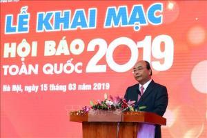 Thủ tướng Nguyễn Xuân Phúc phát biểu tại Lễ khai mạc Hội báo toàn quốc năm 2019.