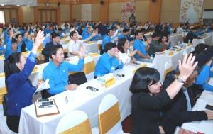 Đại biểu tham dự Hội nghị Ban Chấp hành Tổng LĐLĐ Việt Nam lần thứ ba (khóa XII)