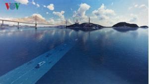 Phối cảnh minh họa dự án hầm đường bộ vượt biển qua vịnh Cửa Lục.