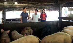 Lãnh đạo và cán bộ nông nghiệp xã An Thịnh tuyên truyền cho các hộ chăn nuôi về cách phòng chống dịch tả lợn châu Phi.