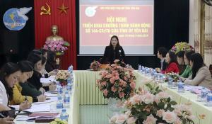 Đồng chí Vũ Thị Hiền Hạnh - Ủy viên BCH Đảng bộ tỉnh, Chủ tịch Hội Liên hiệp Phụ nữ tỉnh  chủ trì Hội nghị.
