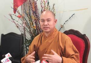 Thượng tọa Thích Đức Thiện, Phó Chủ tịch - Tổng Thư ký  Hội đồng Trị sự Giáo hội Phật giáo Việt Nam trả lời báo chí chiều 21-3 về vụ việc xảy ra ở chùa Ba Vàng.