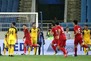 U23 Việt Nam (đỏ) có khởi đầu thuận lợi tại vòng loại U23 châu Á 2020.