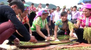 Phụ nữ Thái Tú Lệ giã cốm phục vụ du khách.