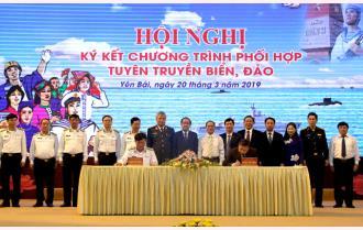 Hội nghị ký kết chương trình phối hợp tuyên truyền biển, đảo giữa Tỉnh ủy Yên Bái và Đảng ủy Quân chủng Hải quân Việt Nam