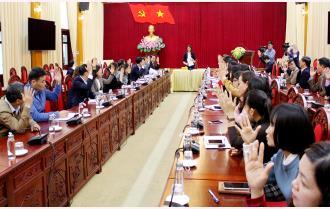 Văn phòng Tỉnh ủy tổ chức Hội nghị lấy ý kiến giới thiệu các đồng chí ứng cử đại biểu Quốc hội khóa XV và đại biểu HĐND tỉnh khóa XIX nhiệm kỳ 2021- 2026