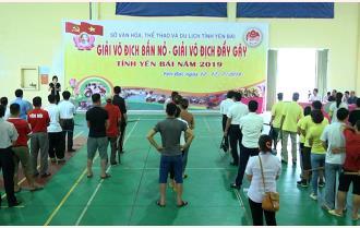 90 vận động viên tham gia Giải vô địch bắn nỏ, đẩy gậy tỉnh Yên Bái năm 2019