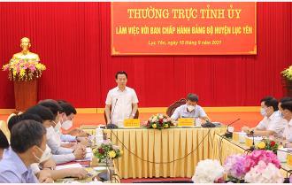 Thường trực Tỉnh ủy làm việc với Ban Chấp hành Đảng bộ huyện Lục Yên