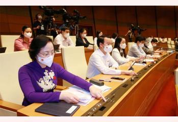 Đoàn đại biểu Quốc hội tỉnh Yên Bái bấm biểu quyết thông qua cơ cấu số lượng thành viên Chính phủ nhiệm kỳ 2021 - 2026. (Ảnh: Minh Đông/TTXVN)