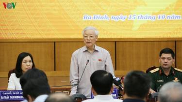 Tổng Bí thư, Chủ tịch nước Nguyễn Phú Trọng phát biểu tại cuộc tiếp xúc cử tri.