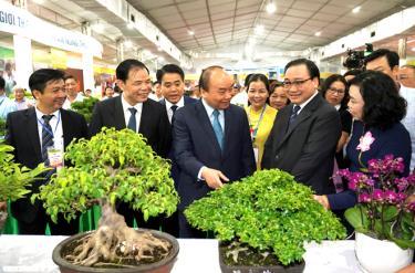 Thủ tướng Nguyễn Xuân Phúc cùng các đại biểu dự Hội nghị tổng kết 10 năm xây dựng nông thôn mới tại Hà Nội.