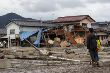 Nhà cửa bị phá hủy trong siêu bão Hagibis tại tỉnh Nagano, Nhật Bản, ngày 15/10/2019.