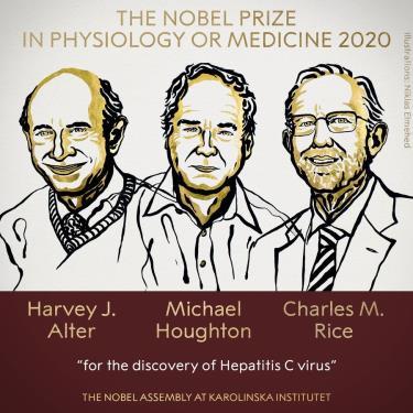 3 nhà khoa học Harvey J. alter, Michael Houghton và Charles M. Rice nhận giải Nobel Y học 2020. Ảnh: Nobel Prize.