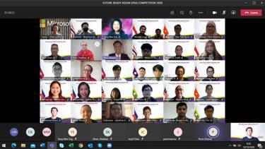 Trận chung kết cuộc thi Future Ready ASEAN 2020 được tổ chức hoàn toàn bằng hình thức trực tuyến. (Ảnh chụp màn hình)