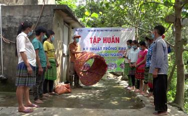 Chương trình phát triển vùng huyện Trạm Tấu hướng dẫn kỹ thuật nuôi gia cầm cho người dân.