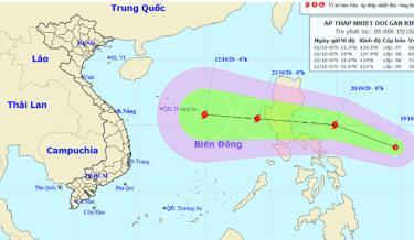 Dự báo hướng đi của áp thấp nhiệt đới.