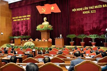 Tổng Bí thư, Chủ tịch nước Nguyễn Phú Trọng phát biểu chỉ đạo tại Hội nghị Trung ương lần thứ 13, khóa XII.