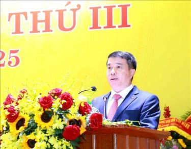 Đồng chí Y Thanh Hà Niê Kđăm, Ủy viên dự khuyết Trung ương Đảng, Bí thư Đảng ủy Khối Doanh nghiệp Trung ương nhiệm kỳ 2020-2025 phát biểu tại Đại hội.