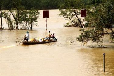 Các đoàn cứu trợ tập trung đưa những mặt hàng thiết yếu đến vùng bị nước lũ cô lập ở các xã của huyện Quảng Ninh, tỉnh Quảng Bình.