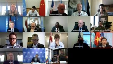 Một cuộc họp trực tuyến của Hội đồng Bảo an Liên hợp quốc.